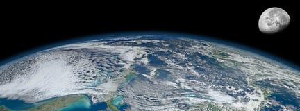 Planeten-Erdemondumkreisung Stockbild
