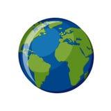 Planeten-Erdikone lokalisiert auf weißem Hintergrund Stockbilder