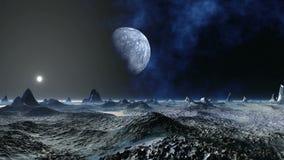 Planeten flyger över ett främmande landskap stock video