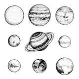 Planeten im Sonnensystem Mond und die Sonne, Quecksilber und Erde, beschädigt und Venus, Jupiter oder Saturn und Pluto astronomis stock abbildung