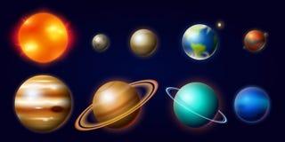 Planeten im Sonnensystem Mond und die Sonne, Quecksilber und Erde, beschädigt und Venus, Jupiter oder Saturn und Pluto astronomis lizenzfreie abbildung