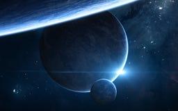 Planeten im Weltraum Eklipse des blauen Sternes Zukunftsromane stockbilder