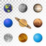 Planeten kleurrijke reeks op transparante achtergrond Royalty-vrije Stock Afbeeldingen