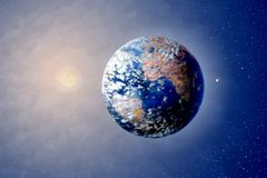 Planeten-Land, Sun und Mond im Weltraum Stockbild