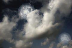 Planeten, maan en sterren stock afbeelding