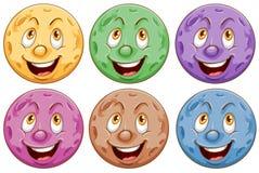 Planeten met gezichten vector illustratie