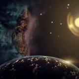 Planeten met nevel en sterren in kosmos royalty-vrije illustratie