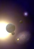Planeten mit Sonne Stockfotografie