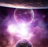 Planeten mit violettem Nebelfleck und steigendem Stern stock abbildung