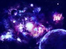 Planeten nähern sich Nebel lizenzfreie abbildung
