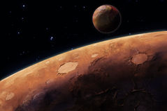 Planeten och dess satellit Arkivfoton