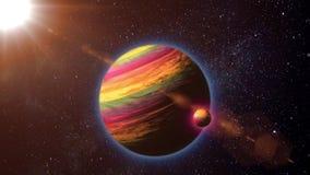 Planeten och dess satellit roterar i utrymme stock illustrationer