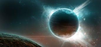 Planeten op een sterrige achtergrond Stock Foto