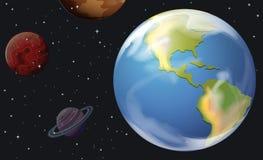 Planeten in outerspace stock illustratie