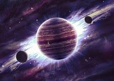 Planeten over de nevels in ruimte Stock Afbeelding