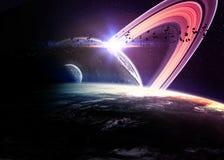 Planeten over de nevels in ruimte vector illustratie
