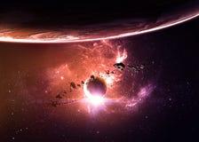 Planeten over de nevels in ruimte stock illustratie