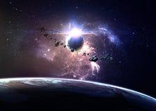 Planeten over de nevels in ruimte Royalty-vrije Stock Foto's