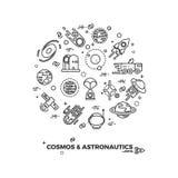 Planeten, Raum und Raketenvektorikonen Stockbild