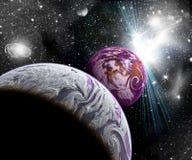 Planeten in ruimte stock illustratie