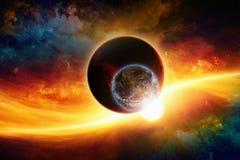 Planeten in ruimte stock afbeelding