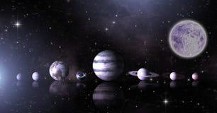 Planeten in ruimte met maan royalty-vrije illustratie