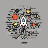 Planeten, sterren en raket Voor u ontwerp Stock Afbeelding
