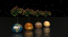 Planeten und Bäume lizenzfreie abbildung