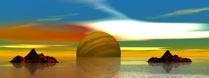 Planeten und Berge lizenzfreie abbildung