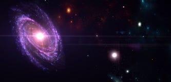 Planeten und Galaxie, Zukunftsromantapete Schönheit des Weltraums lizenzfreie abbildung