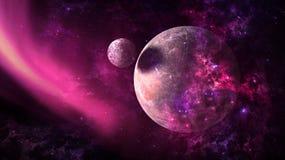 Planeten und Galaxie, Zukunftsromantapete Schönheit des Weltraums lizenzfreie stockfotos