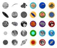 Planeten van de zonnestelsel mono, vlakke pictogrammen in vastgestelde inzameling voor ontwerp Kosmos en astronomie het vectorweb royalty-vrije illustratie