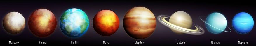 Planeten van de Zonnestelselvector Stock Afbeelding