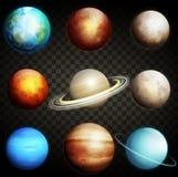 Planeten van het zonnestelsel op een transparante achtergrond wordt geïsoleerd die Reeks van realistische planetenvector Royalty-vrije Stock Fotografie