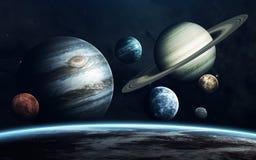 Planeten van Zonnestelsel Aarde, Mars, Jupiter en anderen Elementen van dit die beeld door NASA wordt geleverd royalty-vrije stock afbeeldingen