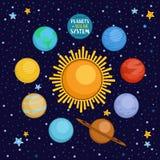 Planeten van zonnestelsel in kosmische ruimte, beeldverhaal vectorillustratie Stock Foto
