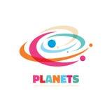 Planeten - vectorembleemconcept Abstracte ruimteillustratie Zonnestelselteken Melkwegsymbool Het element van het ontwerp vector illustratie