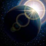 Planetenerde, abstrakter Hintergrund, stellte den sternenklaren Raum des Musters und die Sonneneruption ein Benutzen Sie Hintergr Lizenzfreie Stockfotografie