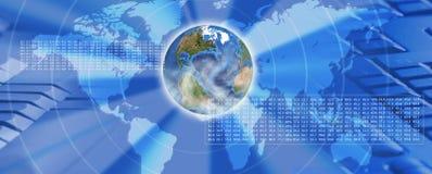 Planetenerde auf technologischer Hintergrundnahaufnahme Stockfotos