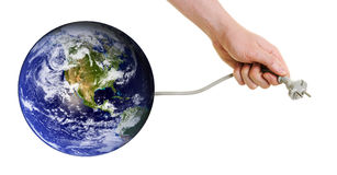 Planetenerde, die nach neuen Energiequellen sucht Lizenzfreies Stockfoto