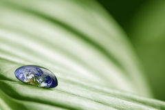 Planetenerde im Tropfen des Wassers Lizenzfreies Stockfoto