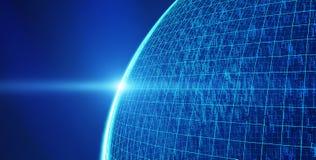 Planetenerde mit 01 binären Daten, Internetanschlusskonzept stock abbildung