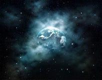 Planetenerde mit der Sonne, die in Weltraum am Sternfeld steigt lizenzfreies stockbild