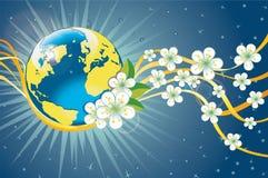 Planetenerde mit Frühlingsblumen und goldenem Band Stockbilder