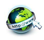Planetenerde mit HTTP-Fahne herum stockbilder