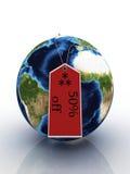 Planetenerde mit Kennsatzverkauf Lizenzfreies Stockfoto