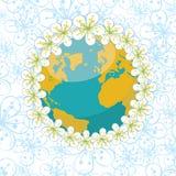 Planetenerde mit Kranz des Frühlinges blüht auf Fluss Stockfoto