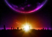 Planetenerde mit Sonnenaufgang im Platz Stockfoto