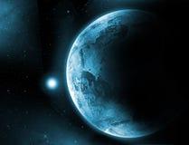 Planetenerde mit Sonnenaufgang im Raum stockfotos