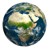 Planetenerde mit Wolken Afrika, Teil von Europa und von Asien Stockfotos